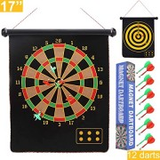 "Sakruda 17"" Magnetic Dart Board Kids with 12pcs Safe Darts,Reversible Rollup Dart Board Set Gift Toy for Kids and Adults,Indoor or Outdoor Easily Hangs Anywhere,Perfect for Boys Game and Party Games"