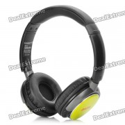 Deportes con estilo recargable MP3 Music Player Headset w / FM / TF - Amarillo (3.5mm)