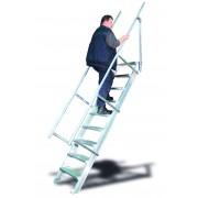 Euroline Treppe 45 Grad, 600mm Stufenbreite, 1 Handlauf 6 Stufen