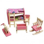 FunnyGoo Wooden Dollhouse Pink Delicate House Furniture Dolls Pretend Toy Miniature Baby Nursery Room Household Play with 2 Doll People Kids Gift (Bunk Bed)