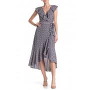 Max Studio Patterned Ruffle Wrap Midi Dress BLUCHMBRYRD ARW EYEGALLOVR