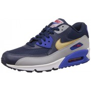 Nike Men's Air Max 90 Essential Midnight Navy, Gold and Grey Running Shoes - 5.5 UK/India (38.5 EU)(6 US)