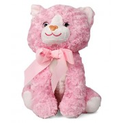 My Baby Excels Sitting Cat with Ribbon Plush | Imported Premium Quality | Soft Toy for Kids of Age 1 Year and Above | Pink Colour | Size 30 cm