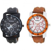 RIDIQA Analog Brown Strap Black Dial casual watch for men's combo RD-115-120