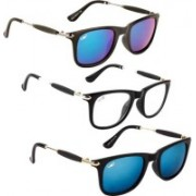 Tazzx Wayfarer Sunglasses(Blue, Clear, Green)