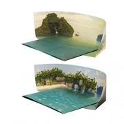 SINGLE Beach / Island Foldable Background Scenery for Toys like LEGO, Shopkins | Bakku Backgrounds | LANDSCAPE Orientation 36inX24in Becomes 25inX16inX8in Tall When Folded