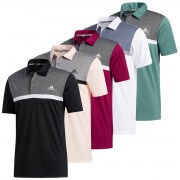 adidas Golf Mens 2020 Colour Block Nouveauté UV 50+ Polo Tech Emerald/Black Melange L