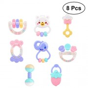 TOYMYTOY 8pcs Baby Rattles Teether Set Newborn Hand Bell Toys First Rattle Toys