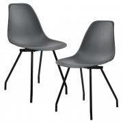 [en.casa]® Design stolica - set od 2 komada (tamno siva, čelične nogare)