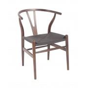 Replica Hans Wegner Wishbone Chair - Dark Walnut Frame (grain not visible) Black seat - Beech Timber