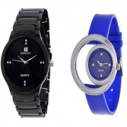 IIK Collction Black Men and Glory Blue Moon Analog Watches for Men and Women