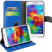Crazy-horse Luxury Leather Wallet Case For Samsung Galaxy S5 - Blue