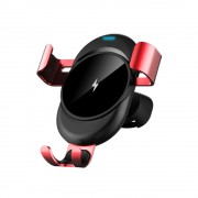LENUO CL-27 Qi Wireless Charger Gravity Air Vent Car Mount Bracket - Red