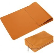 Enthopia 13-13.5 Inch Slim Laptop Sleeve for 13 Inch Macbook/Other 13 Inch Slim Laptops Protective Cover with Organiser Pouch for Mouse,Charger,Hard Disk,Pen Drive,etc - Vegan Leather (Tan) Laptop Bag(Tan)