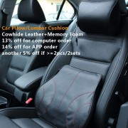 Car-covers classical car pillow back support lumbar cushion Genuine leather+memory foam car headrest neck pillow car styling