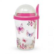 PPD.Q603712 Műanyag joghurtos pohár gabona és gyümölcs tárolóval 300+100ml, Happy Birthday Wishes