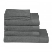 Seahorse Pure set - 3 washandjes + 3 baddoeken + 1 douchelaken - Graphite