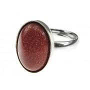 Inel argint reglabil cu Piatra Soarelui maro 14x10 MM