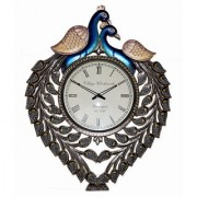 Ethnic Art Store Wooden Carving Peacock Wall Clock Thickness 30MM
