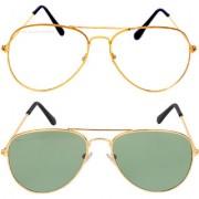 Aligatorr Combo Of 2 Aviator Unisex Sunglasses gold wtggnCRLK