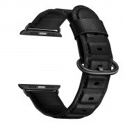 Genuine Leather Coated Smart Watch Band for Apple Watch Series 5/4 44mm / Series 3/2/1 42mm- Black