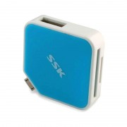 Card reader SSK SCRM068 OTG USB 2.0 Blue