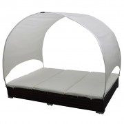 Double Rattan Lounge Bed Brown with Canopy