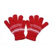 kids winter woolen red gloves