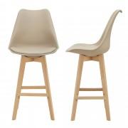 Комплект от 2 бар стола [en.casa]® , корпус от Бук, тапицирани с еко кожа, 105 cm високи, Бежови
