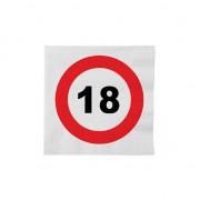 Merkloos 32x 18 jaar verkeersbord verjaardag thema servetten 33 x 33 cm - Feestservetten