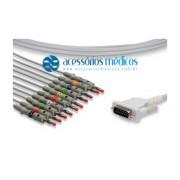 CABO PARA ELETROCARDIÓGRAFO 10 VIAS COMPATÍVEL ESAOTE® P80 / P80-I / P120 P/N 40893 / Registro Anvisa 80787710009 - NQA-EL071