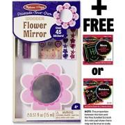 Flower Mirror Decorate-Your-Own Kit + FREE Melissa & Doug Scratch Art Mini-Pad Bundle [88497]