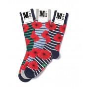 MrD London [3 Packs] Assorted Poppies Socks B19-005