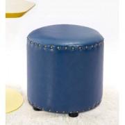 AZAZO Leatherette Round Ottoman in Blue Colour