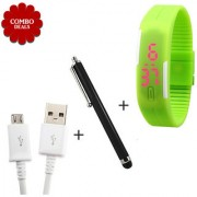 Combo of V8 Micro USB Data Cable Touch Screen Stylus Pen K3 Slicone Watch - Assorted Color