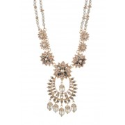 Marchesa Drama Crystal Beaded Statement Pendant Necklace GOLD