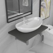 vidaXL Комплект мебели за баня от две части, керамика, сив