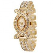 AKS Gold Oval Dial Gold Analog Watch For Women