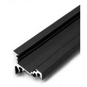 Hliníková lišta Corner Čierna pre LED pásik, s krytom Biela číra