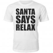 Santa Says Relax Christmas T-Shirt - White - S - White