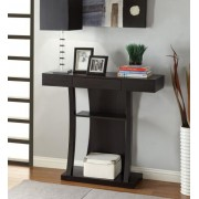 Espresso finish wood hall console table with small center drawer and lower shelf