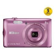 Nikon Cámara Compacta NIKON Coolpix A300 (Rosa - 20 MP - ISO: 80 a 1600 - Zoom Óptico: 8x)