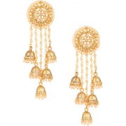 Pourni exclusive Designer Bahubali American Diamond Earring With Dangling Jhumka -KRER12