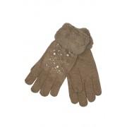 Gloves Lady dámské rukavice s kamínky světle hnědá