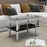 vidaXL Konferenčný stolík, sklenený, 2 úrovne