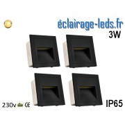 4 supports Noir encastrable Sol et Mur 3W blanc chaud IP65 230v ref sms-15