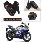 AutoStark Gloves KTM Bike Riding Gloves Orange and Black Riding Gloves Free Size For Yamaha R15 s