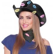 Zwarte kartonnen cowboyhoed met lippen/kusjes voor dames