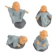 Futaba Miniature Buddhist Monk Figurine Doll - Pack of 4 - Grey