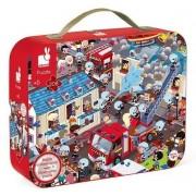 Janod Puzzle Janod Puzzle obserwacyjne w walizce Straż pożarna